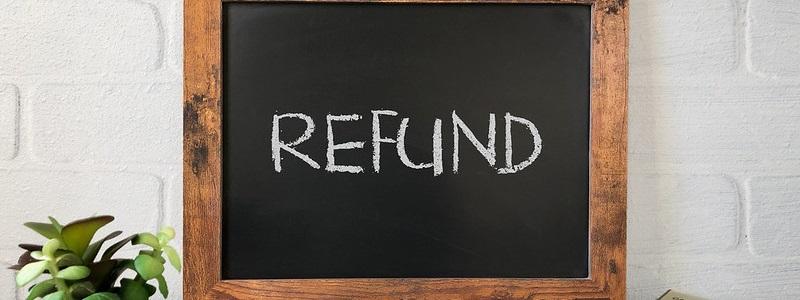 refund written on a chalk board