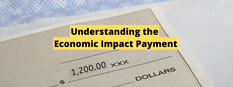economic impact payment check behind title text